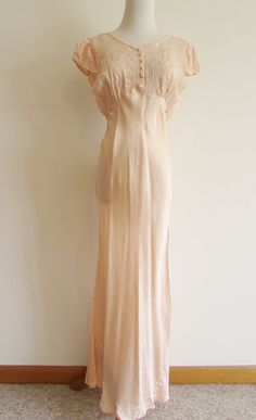 Vintage Peach Silky Girly Maxi Nightgown by FunkyOldSoul on Etsy