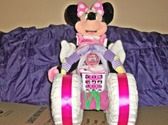 Disney Minnie Mouse inspired pink  four by ReadyMadeDiaperCakes, $140.00