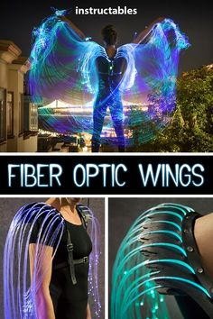 These fiber optic wings have a decorative harness made up of leather feathers and are powered by a color-changing flashlight. Informations About Fiber Optic Burning Man, Larp, Halloween Diy, Halloween Costumes, Alien Halloween, Cosplay Diy, Cosplay Armor, Cosplay Makeup, 3d Prints