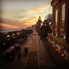 Sunset over Atlantic City Boardwalk