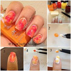 Fall Sponge Nails--I wouldn't use a white base on this, but otherwise, I love it!