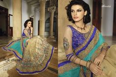 Beige With Blue Half Netted Sarees Online Shopping