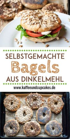 Selbstgemachte Bagels aus Dinkelmehl *** Homemade Easy Bagels Recipe with spelt . Homemade bagels made from spelled flour *** Homemade Easy Bagels Recipe with spelled rye Easy Cheesecake Recipes, Easy Cake Recipes, Easy Healthy Recipes, Vegetarian Recipes, Easy Meals, Snacks Recipes, Easy Snacks, Cupcake Recipes, Breakfast Desayunos