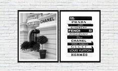 Chanel Printing Set/Fashion Wall Art/Black and White Poster/Glamor Combo/Fendi/Hermes/Gucci/Prada/Tom Ford/Dior/Chanel/Louis Vuitton/Dior Poster On, Poster Wall, Body Chart, Chanel Print, Fendi, Gucci, Black And White Posters, Fashion Wall Art, As You Like