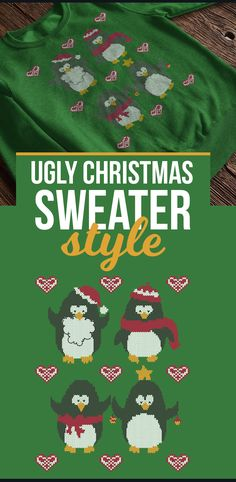 Penguins in Ugly Christmas Sweater style are visiting for Christmas! Meet Santy, Scarfy, Bowy and Stary, they don't bring gifts, cause they are the best gift for Christmas. Your girlfriend will fall in love with this beautiful sweatshirt. Check it here: https://teespring.com/penguin-ugly-christmas-sweater