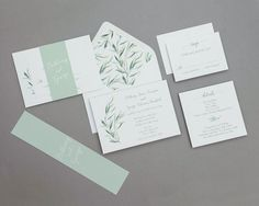 Modern Calligraphy Greenery Wedding Invitation by Bdesignspaper