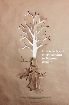 This tree is being cut out of paper made from a tree. Looks cool though