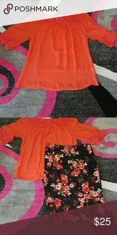 Plus size Tangerine top PLUS SIZE TOP WITH FLOWER PRINT ON THE SLEEVE AND THE NECK LINE  40% COTTON 60% POLYESTER  the skirt is also available for purchase in plus size iRE Fashion Tops Blouses