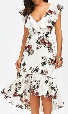 Plunging Floral Ruffle Backless Tea Length Dress - White M Elegant Dresses, Sexy Dresses, Cute Dresses, Casual Dresses, Short Dresses, Fashion Dresses, Dresses For Work, Summer Dresses, Formal Dresses