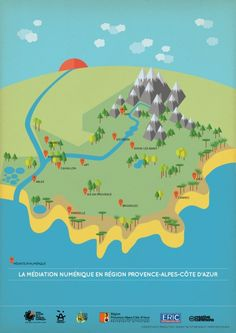 Pierre Piech vector illustration, illustrated map, South France