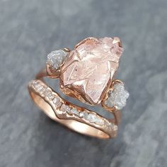 Custom Wedding Rings I have been creating many new rough gemstone rings this week. This one is a morganite with rough diamonds in rose gold for all of you who have asked. Big Wedding Rings, Wedding Rings Rose Gold, Gold Wedding, Raw Gemstone Ring, Gold Diamond Rings, Uncut Diamond Ring, Gold Rings, Silver Ring, Diamond Earrings
