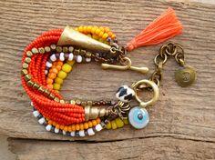 Gypsy Bohemian Multi strand, beaded bracelet, Ethnic, Hippie, stacking bracelet, Charm bracelet, evil eye, tassel bracelet.