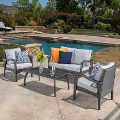 made from eco friendly wicker material this set includes one loveseat two armchairs and a table with plush cushions for added comfort patio furniture
