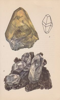 Vintage Print- Rocks and Minerals: Calcite Crystals by PineandMain (etsy)