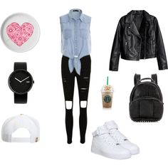A fashion look from March 2015 featuring sleeveless blouse, leather jackets and distressed jeans. Browse and shop related looks. Alessi, Alexander Wang, Shoe Bag, Nike, Polyvore, Stuff To Buy, Outfits, Shopping, Shoes