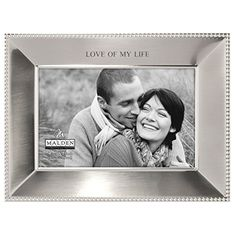 Malden International Designs Simply Stated Shiny Pewter Love of My Life Metal Picture Frame, 4x6, Silver