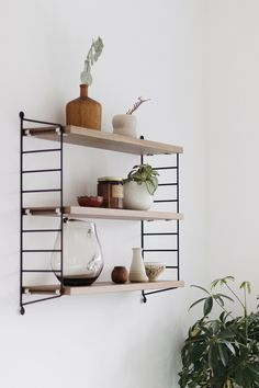 I've wanted a String shelf for years, and finally gave into temptation. The walls in the dining area of our kitchen-diner were looking very… String Pocket, Dining Room Walls, Dining Area, Living Room, Scandinavian Shelves, Scandinavian Style, String Shelf, Home Organization Hacks, Slow Living