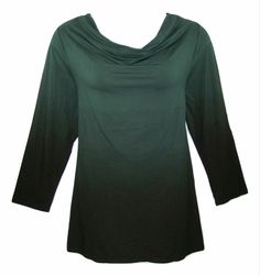 CATHERINES 1X-18/20 Hunter Green & Black Ombre Drape Neck Top Blouse-NWOT#Catherines#DrapeNeck#Womens#PlusSize