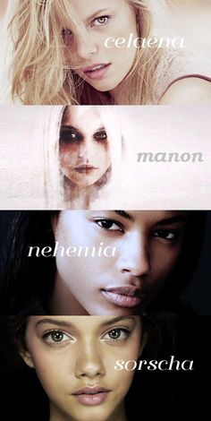 Women of Throne of Glass series; Celaena Sardothien, Manon Blackbeak, Nehemia Ytger, Sorscha