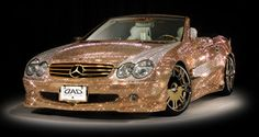 Cars - Austrian certified Swarovsky crystals cover this Mercedes Benz Convertible. Cars - Austrian certified Swarovsky crystals cover this Mercedes Benz Convertible. Mercedes Benz Cabrio, Gold Mercedes, Mercedes Benz Convertible, Car Jokes, Car Humor, My Dream Car, Dream Cars, Funny Car Quotes, Win Car