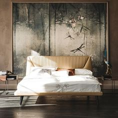 Stunning bed design with an amazing wall board