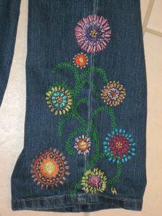 FLOWER POWER Hippie Style blue jean crewel embroidery PATTERN. $6.00, via Etsy.
