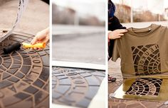 Using public street fixtures as printing elements, the artist collective behind Berlin-based Raubdruckerin (pirate printer) produces shirts and bags imprinted with manhole covers, vents, and utility grates. The overlooked geometric patterns and typographic forms of urban signage make surprisingl