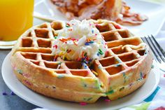 Funfetti Waffles Recipe by Food Fanatic Cake Batter Pancakes, Pancakes And Waffles, Craving Sweets, Waffle Recipes, Sweet Recipes, Yummy Recipes, Have Time, Breakfast Recipes, Breakfast Ideas