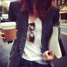 """It's not just the semi-tweed jacket in this pic that fanned up my skirt…  it's the walk on a chilly morning with a latte in hand…  the dark nail polish…  the raspberry shades and the two-tone leather bag.  Nomnomnom."" Amen!"