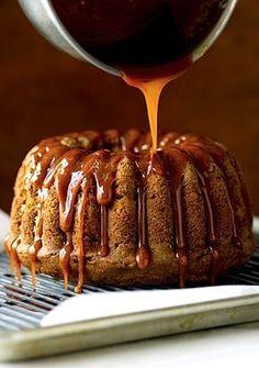 Recipe: Trisha Yearwood's Fresh Apple Cake with Caramel Glaze (Bundt) Just Desserts, Delicious Desserts, Yummy Food, Apple Cake Recipes, Dessert Recipes, Apple Cakes, Apple Bundt Cake Recipes, Dinner Recipes, Pumpkin Recipes