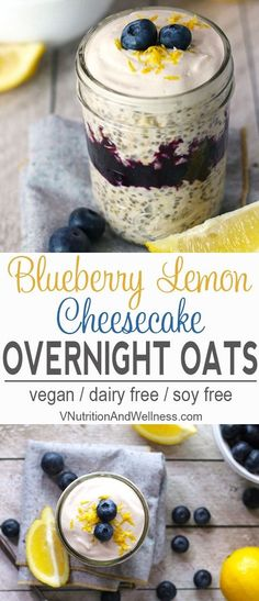 Blueberry Lemon Cheesecake Overnight Oats |  These Blueberry Lemon Cheesecake Overnight Oats are tart, sweet, and creamy all at the same time. It's a healthy breakfast you can make ahead of time for those mornings that you're in a rush! vegan overnight oats, vegan breakfast recipe, gluten free via @VNutritionist