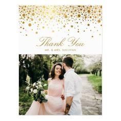 Faux Gold Foil Confetti Dots Photo Thank You II Postcard