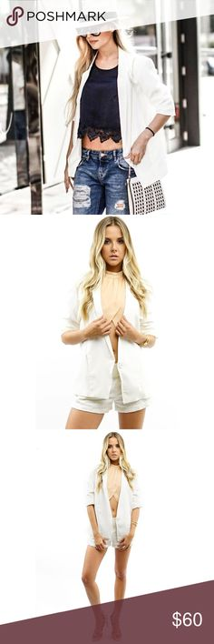 WHITE BLAZER LAST ONE! Boxy one button white boyfriend blazer with 3/4 scrunched sleeves 100% Polyester Inner Lining. Model is wearing a small. all pictures taken exclusively for Style Link Miami and are showing actual product. PRICE FIRM. Style Link Miami Jackets & Coats Blazers