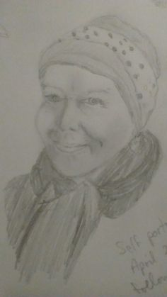 'A moment in time fighting cancer' by Kathleen Bamforth. A4 drawing using graphite pencil.Drawn at a time when still having chemotherapy. The drawing is a reflection of self at that time.To me it identify where I was and how I saw myself.