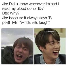 Haha shouldn't be as funny as it is, but it's Jin, so any joke becomes hilarious paired with a picture of him❤️