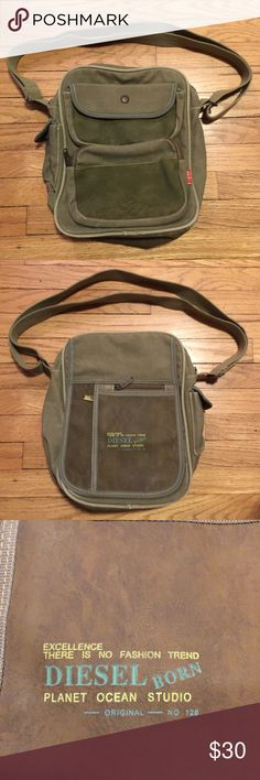 Diesel spare parts green small bag Diesel spare parts green small bag. Adjustable strap. Excellent condition. Perfect for a man or woman Diesel Bags Mini Bags