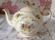 Lovely Vintage Teapot Cream with Flowers by florenceforeverfinds