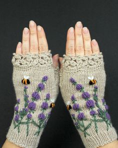 Knitted Fingerless Gloves, Lavender, Bees, Beige Mittens, Clothing and Accessories, Gloves & Mittens,Gift Ideas, For Her by nbGlovesAndMittens on Etsy https://www.etsy.com/au/listing/242125203/knitted-fingerless-gloves-lavender-bees