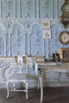 Blue room of the Villa di Geggiano, near Siena Italy. Original trompe l'oeil wallpaper & furniture date to the 1770's. Image from Book: Judith Miller's COLOR. Photography by Tim Clinch.