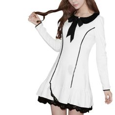 Amazon.com: Allegra K Doll Collar Long Sleeve Self Tie Bow Front Decor Stretch Dress: Clothing