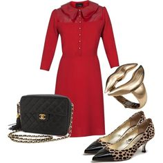 """""""Red + leopard"""" by runway2street on Polyvore"""