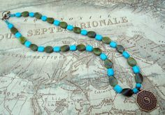 Men's Budda, Yin Yang Necklace, Blue And Green, Jade and Magnesite, Unisex