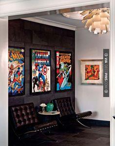 Comic book man cave [ Wainscotingamerica.com ] #Mancave #wainscoting #design