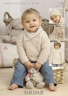 Childrens Sweaters, hat and Blanket in Sirdar Snuggly DK Discover more Patterns by Sirdar at LoveKnitting. The world's largest range of knitting supplies - we stock patterns, yarn, needles and books from all of your favourite brands. Knit Baby Sweaters, Boys Sweaters, Baby Knits, Knitted Baby, Knitting Supplies, Knitting Projects, Knitting For Kids, Free Knitting, Sirdar Knitting Patterns
