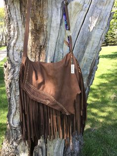 Buffalo leather bag with tons of fringe, is trendy and timeless,! Handmade by Lucy Handmade Purses, Buffalo, Leather Bag, Purses And Bags, Boho, Stuff To Buy, Design, Fashion, Handmade Bags