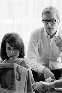 Michael Caine with girlfriend Natalie Wood, photographed by Billy Ray, 1966.