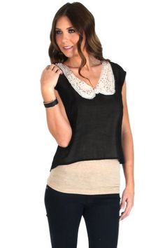 Romeo and Juliet Couture Sheer Blouse with Sequinned Ivory Collar in Black Romeo & Juliet Couture. $16.00