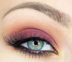 """Warm Smokey Eye using Autumn Colors ~ Make Up Geek """"Bitten"""" matte maroon red on entire lid and """"Chickadee"""" matte yellow orange on crease. Sugarpill """"Goldilux"""" fine gold metallic shimmer on inner corner of eyes for highlight"""