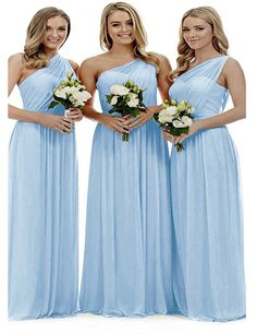New liangjinsmkj Women's One Shoulder Bridesmaid Dresses Long Asymmetric Chiffon Wedding Party Gowns online - Topfashionclothing Pale Blue Bridesmaid Dresses, One Shoulder Bridesmaid Dresses, Bridesmaids, Party Gowns Online, Evening Gowns Online, Ball Gowns Prom, Prom Party Dresses, Prom Dress, Wedding Dresses