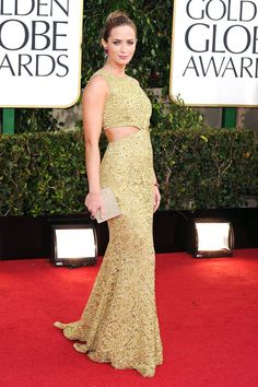 What: Michael Kors Where: Golden Globe Awards in 2013 Why: The actress showed off just the right amount of skin in this gilded lace gown.